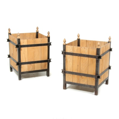 Pair of Steel and Pine Outdoor Planter Boxes