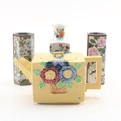 Japanes Painted Ceramic Tea Pot with Andrea by Sadek Ceramic Vases
