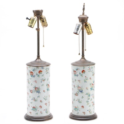 Pair of Antique Chinese Porcelain Cylinder Vase Converted Table Lamps