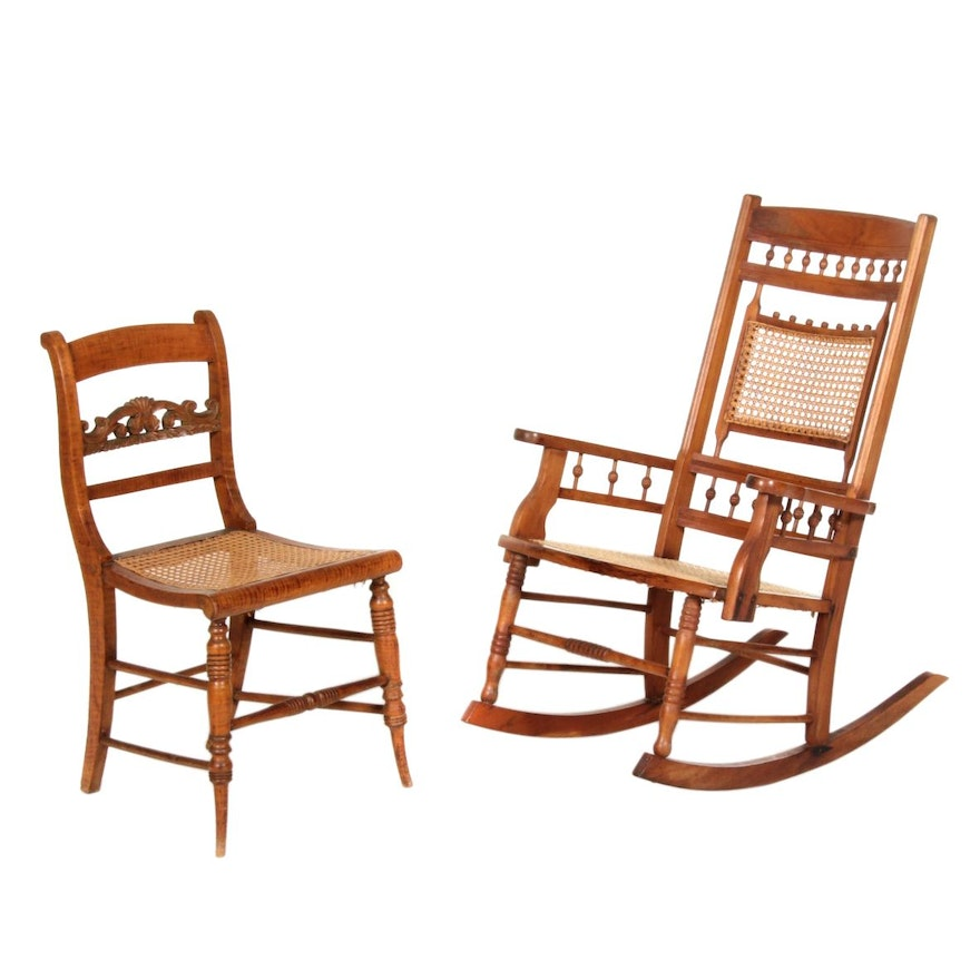 American Classical Tiger Maple Side Chair Plus Victorian Rocking Armchair