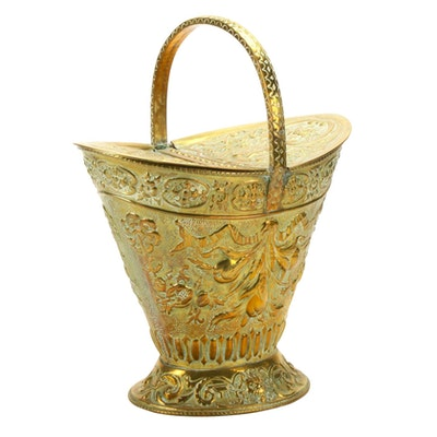 Edwardian Repoussé Brass Coal Scuttle, Early 20th Century