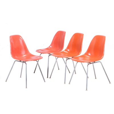 Four Charles & Ray Eames for Herman Miller Mid Century Modern Fiberglass Chairs