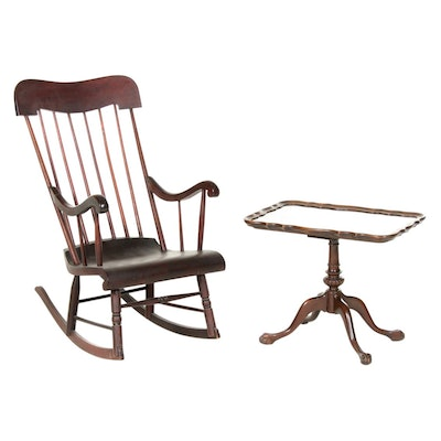 Chippendale Style Side Table Plus Spindle-Back Rocking Armchair