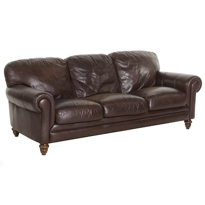 Contemporary Brown Leather Rolled-Arm Sofa