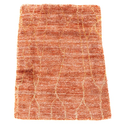 4'1 x 5'9 Hand-Knotted Indian Bamboo Silk Area Rug