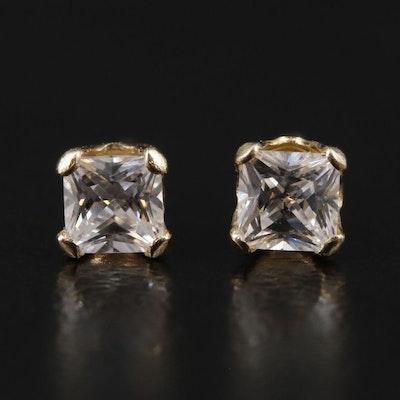 14K Gold Cubic Zirconia Stud Earrings