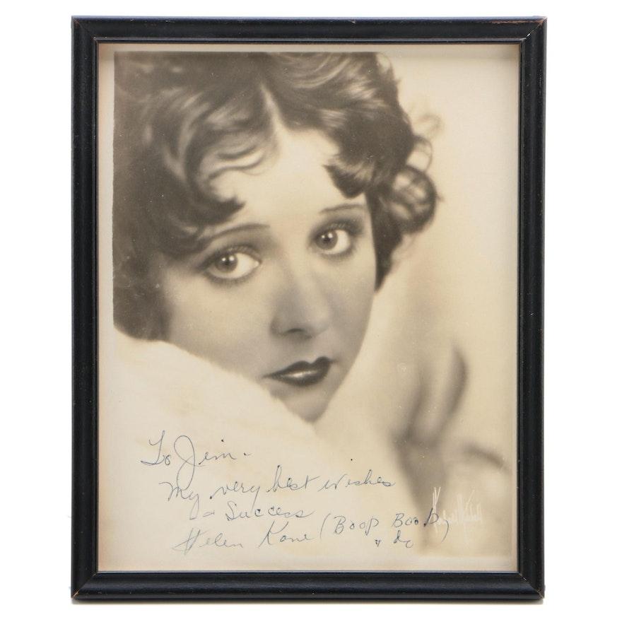 "Helen Kane ""Voice of Betty Boop"" Signed Framed Photo Print, 1930s, Visual COA"