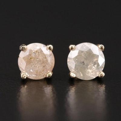 14K Gold 0.77 CTW Diamond Solitaire Earrings