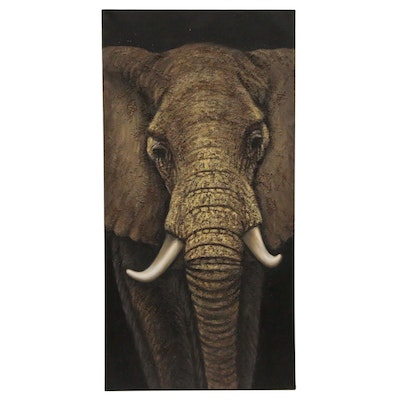 African Elephant Mixed Media Oil Painting