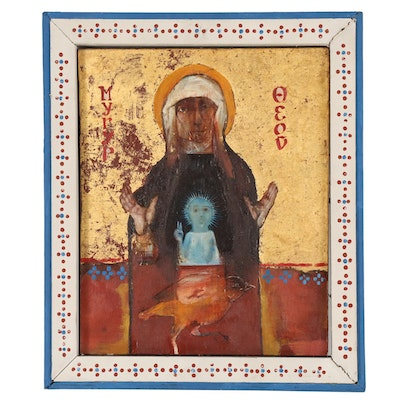 John Anthony Kratley Greek Icon Oil Painting of the Madonna and Child