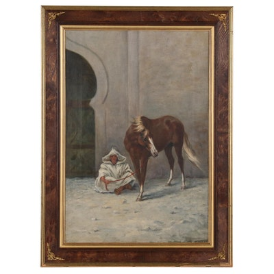 Oil Painting of Middle Eastern Man with Horse