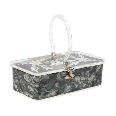 Lucite Box Handbag with Etched Floral Lid, Mid-20th Century