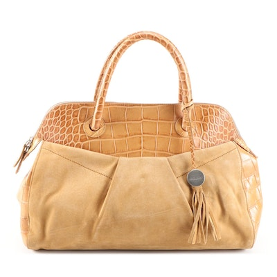 Furla Croc-Embossed and Suede Leather Satchel with Tassel