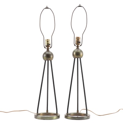 Pair of Mid Century Modern Tripod Lamps in Metal, 1960s