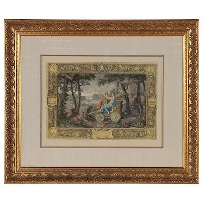 """Hand-Colored Transfer Lithograph after Le Clerc """"Allegory of the Element Earth"""""""