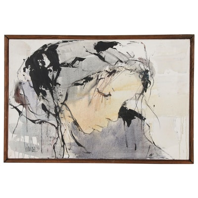 Gino Hollander Oil Painting of Female Figure, 1976