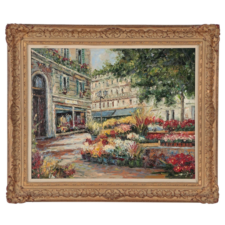 European Street Scene Oil Painting