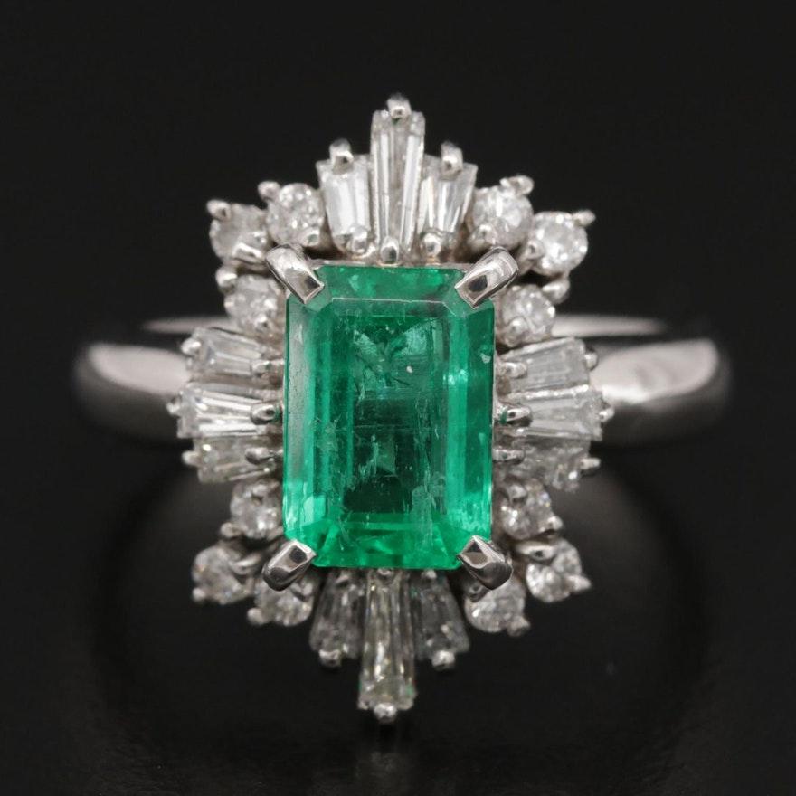 Platinum 1.50 CT Emerald and Diamond Ring