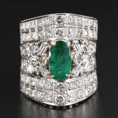 Platinum 3.17 CTW Diamond and 1.26 CT Emerald Ring