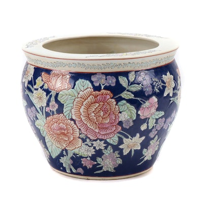 Chinese Enameled and Hand-Painted Fishbowl Style Planter