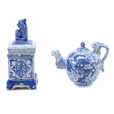 Chinese Porcelain Lidded Box with Guardian Lion and Dragon Teapot