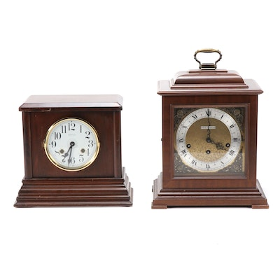 "Seth Thomas ""Legacy"" Flame Mahogany and New England Co. Mantel Clocks"