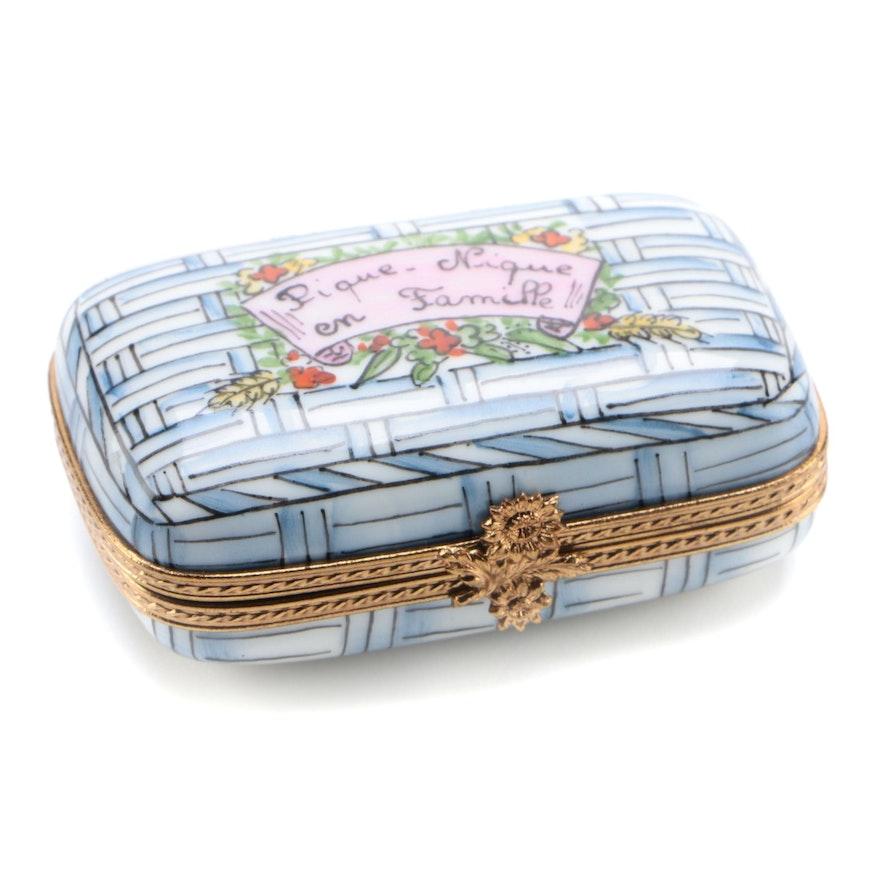 """La Gloriette Hand-Painted """"Pique-Nique en Famille"""" Limoges Box"""