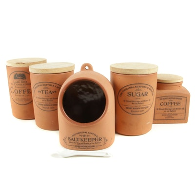 Henry Watson Pottery English Terracotta Coffee, Tea and Spice Canisters