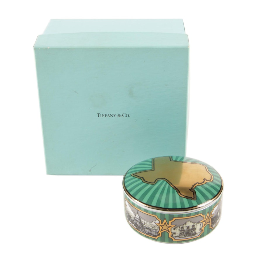 Tiffany & Co. for Fulbright & Jaworski Porcelain Trinket Box with Texas Outline