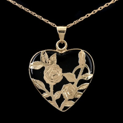 14K Yellow Gold Black Onyx Floral Heart Pendant Necklace