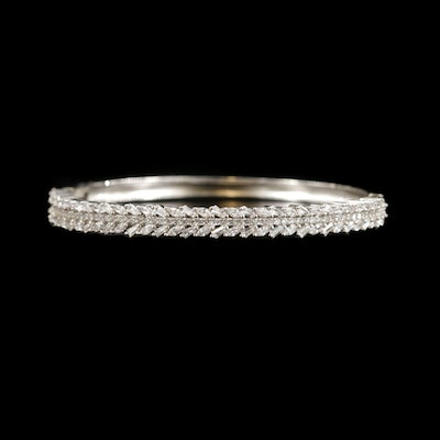 Sterling Silver Cubic Zirconia Bangle Bracelet