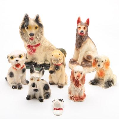 Canine Chalkware Carnival Prize Figurines, circa 1930s-1940s