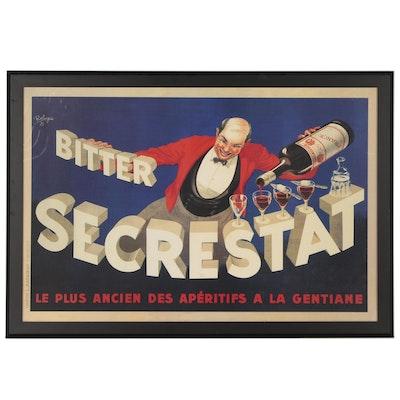 "Large Format Offset Lithograph Reproduction Poster ""Bitter Secrestat"""
