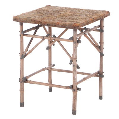 Aesthetic Movement Bamboo Side Table with Upholstered Top, Late 19th Century