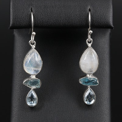 Sterling Silver Rainbow Moonstone and Topaz Dangle Earrings