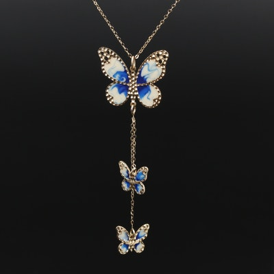 14K Gold Enamel Butterfly Pendant Necklace