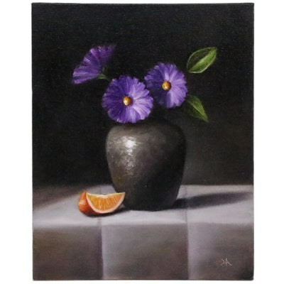 """Houra H. Alghizzi Oil Painting""""Purple Flowers in Black Vase"""""""