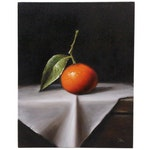 """Houra H. Alghizzi Oil Painting """"Tangerine on White Cloth"""""""