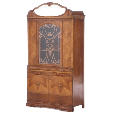 Art Deco Walnut Glass Front China Cabinet, Early 20th Century