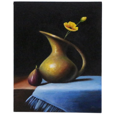 """Houra H. Alghizzi Oil Painting """"Fig and Golden Poppy in Brass"""""""