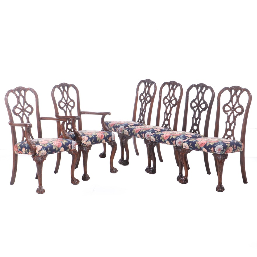 Wellington Hall Carved Mahogany Upholstered Seat Dining Chairs