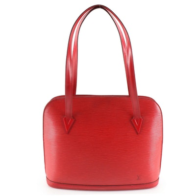 Louis Vuitton Lussac Shoulder Bag in Red Epi Leather