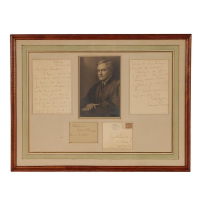 Supreme Court Justice Benjamin Nathan Cardozo Autographed Photograph and Letter
