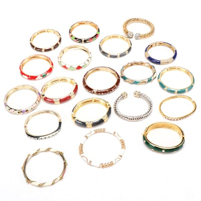 Enamel Hinged Bangle Bracelets