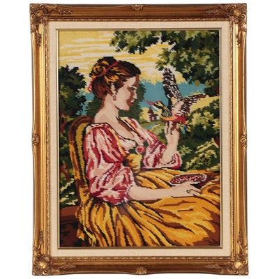 Needlepoint of a Woman Feeding Birds