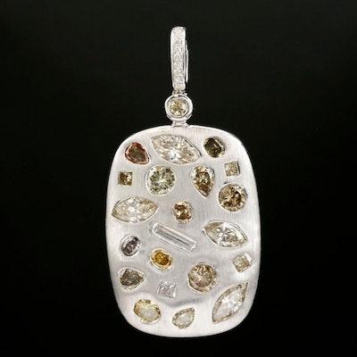 18K Gold 2.78 CTW Diamond Pendant with Brushed Finish