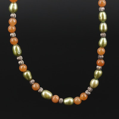Quartzite and Pearl Beaded Necklace