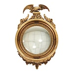 Federal Style Giltwood Eagle Crested Convex Mirror