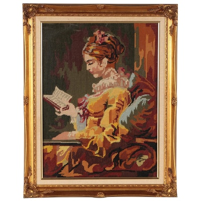 "Needlepoint after Jean Honoré Fragonard ""Young Girl Reading"""