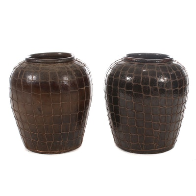 Pair of Large Wire-Wrapped Earthenware Outdoor Planters